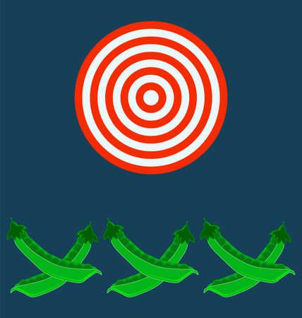 legume: pods of green peas, target concept Illustration