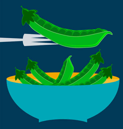 green peas: pods of green peas, blue plate concept