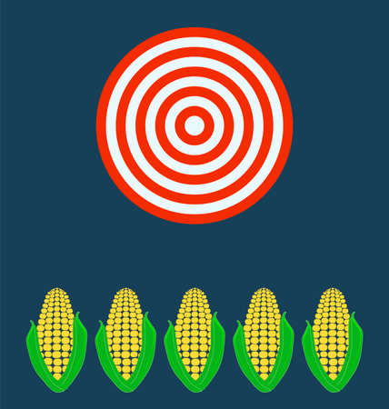 gmo: ears of corn, Target business concept. Illustration