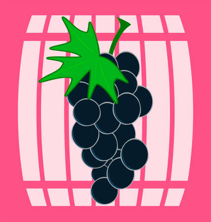 wine barrel: bunch of grapes, wooden wine barrel Illustration