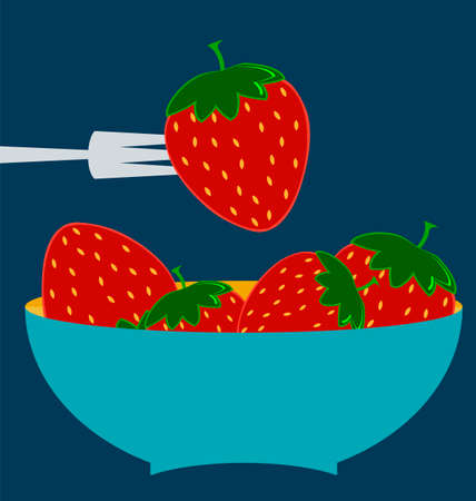 fresh produce: Strawberry icon. Flat design style modern illustration, blue plate concept