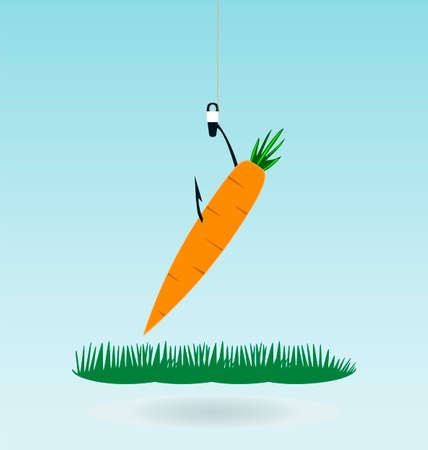 begging: fishing with a carrot, grass concept