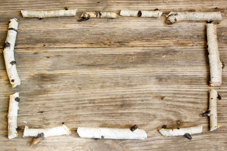 birchbark: Birch tree trunks and branches on natural wood background. Copy space to right. Stock Photo