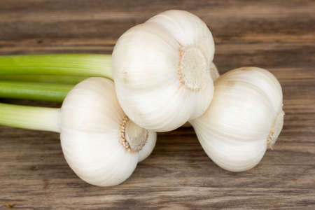 bulb and stem vegetables: fresh garlic bulbs with long stalk on wood table