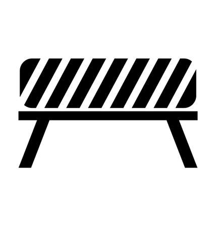 barricade: Black, white and striped road barrier,barricade, road block vector isolated Illustration