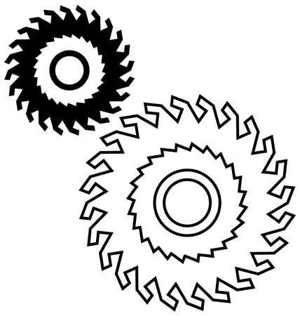 circular saw blade drawing. circular saw blade on a white background. vector drawing