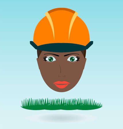 black woman: Young black woman in helmet. Grass concept. Illustration