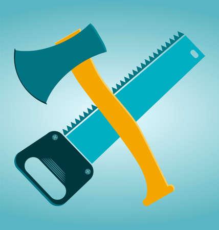 herramientas de carpinteria: sierra y el hacha, herramientas de carpinter�a