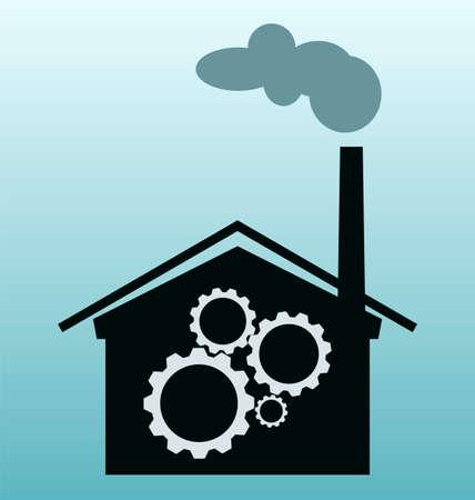 distillery: plant vector icon, gears