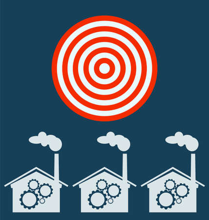 distillery: plant vector icon, gears. Target business concept.