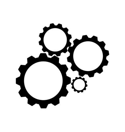 black cogs, gears on white background