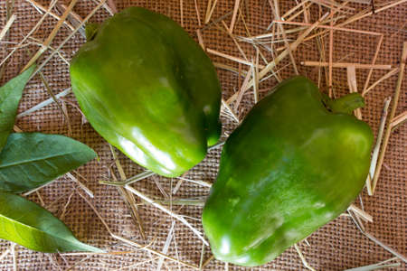 sackcloth: green pepper on a sackcloth Stock Photo