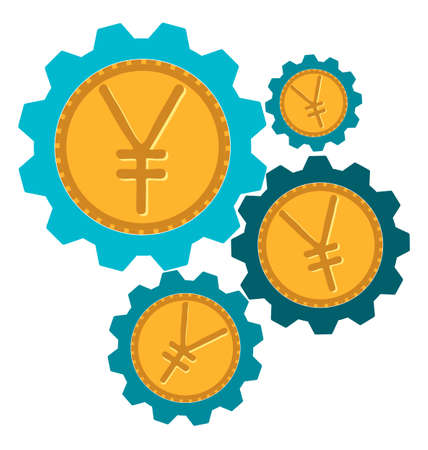 yen sign: gear icon with a yen sign