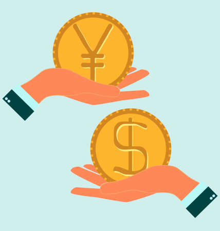 icon idea idiom illustration: Human hand with currency symbols for market and stock money exchange concept, Hand hold dollar and yen symbol to compare their value Illustration