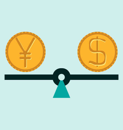 foreign exchange: Scales with Dollar and Yen (Yuan) symbols. Foreign exchange forex concept.