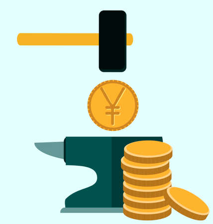 anvil: Make money concept. Anvil with hammer and yen coin symbol