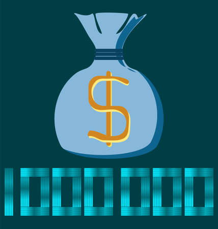 masthead: one million dollars in bag. Money and business, finance success, rich Illustration