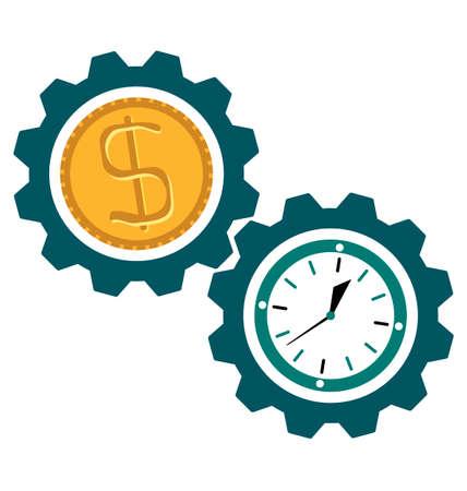 Gear kloktijd, dollar munt, Tijd is geld Stock Illustratie