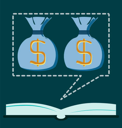 dollar symbol: The open book with a dollar symbol