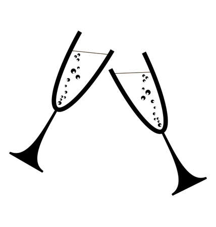 Two glasses of wine or champagne Illustration