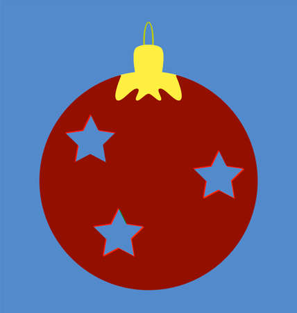 adorn: Red christmas ball with stars Illustration