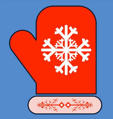 mitten: hand drawn mitten with snowflake