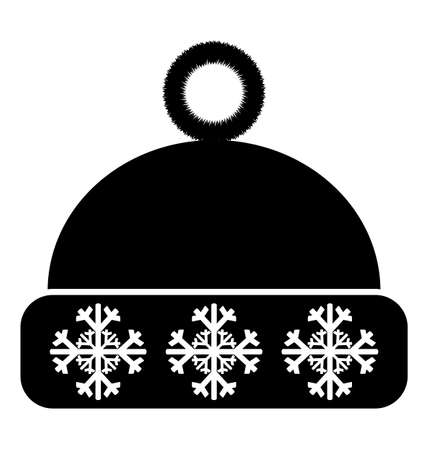 crocheted: Winter hat icon on white background Illustration