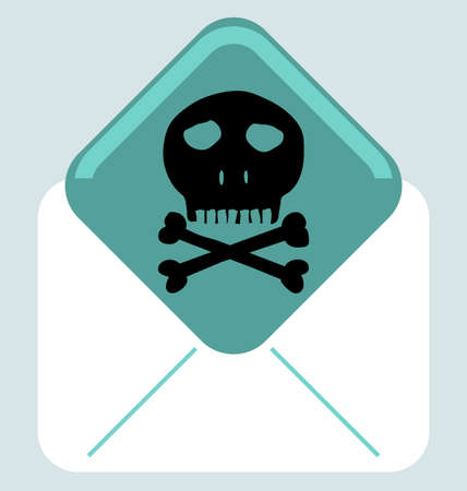 anti piracy: Envelope with skull and crossbones symbol, mark of the danger warning