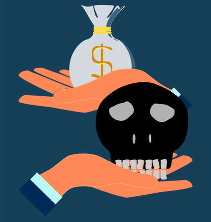 sapiens: human skull in hand, money bag.