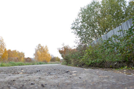 road and path through: Season of bad roads. Autumn roads, road in the village