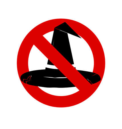 anti season: No, Ban or Stop signs. Halloween, Witch hat icon, Prohibition forbidden red symbols Illustration