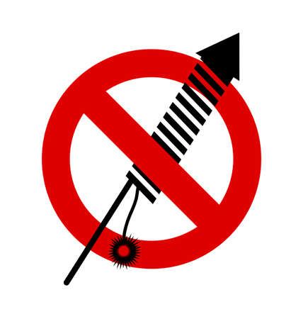 petard: No, Ban or Stop signs. Firework rocket, petard icon, Prohibition forbidden red symbols Illustration