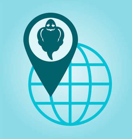 phantom: Halloween Ghost mapping pin icon, location Illustration