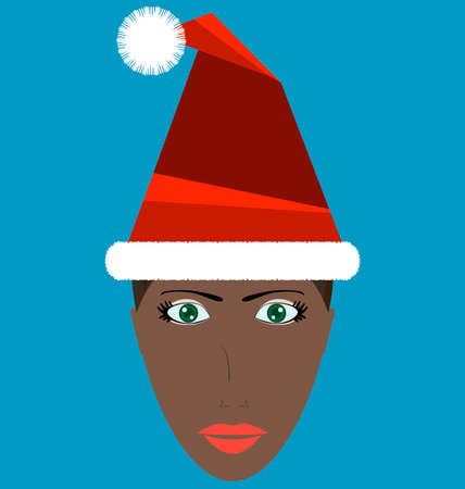 sexual pleasure: Santa girl portrait, girl wearing christmas hat Illustration