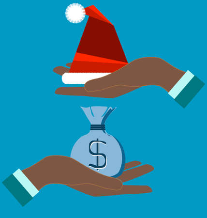 good cheer: Merry Christmas sale with Santa Claus hat and bag of money