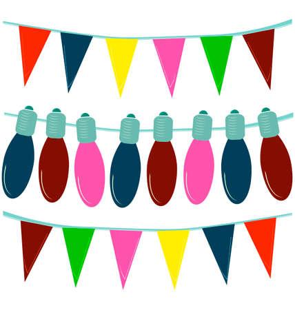 christmas light bulbs: Color Christmas light bulbs on white, festive garland
