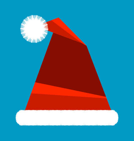 red hat: Santa Claus red hat isolated on blue background