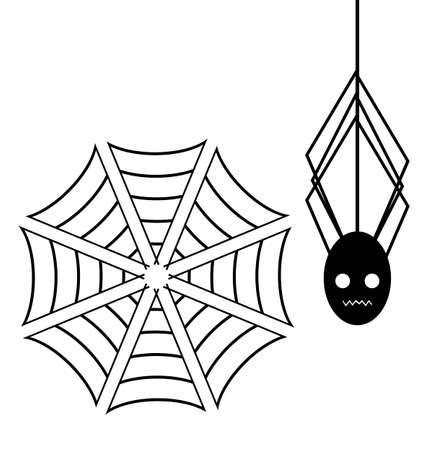 spiderweb: Spiderweb with Spider on white background