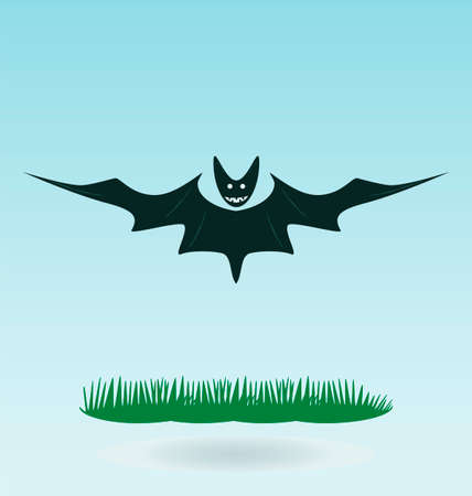 terrify: Cartoon bat spreading his wings, Halloween illustration