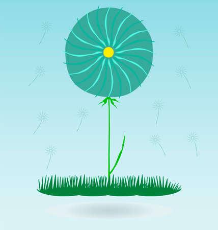 overblown: dandelion, botany flower blossom fluffy, grass concept
