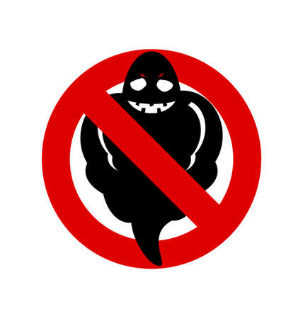poltergeist: No, Ban or Stop signs. Halloween Ghost icon, Prohibition forbidden red symbols