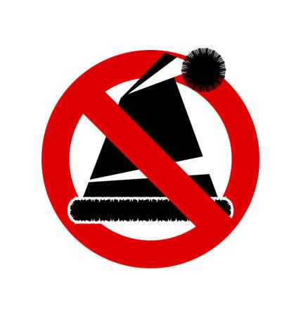 warning indicator: No, Ban or Stop signs. Cap of Santa Claus icon, Prohibition forbidden red symbols