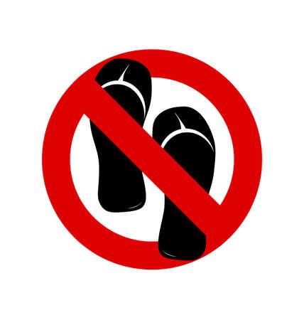 ないサンダル、靴、スリッパは白の背景にサインします。いいえ、禁止または一時停止の標識。赤シンボルを禁止禁止