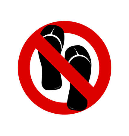 footware: No sandals, No shoes, No slippers sign on white background. No, Ban or Stop signs. Prohibition forbidden red symbols