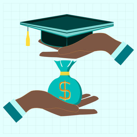 dollar coins: Concept of investment in education with dollar coins bag and Graduate cap in hands