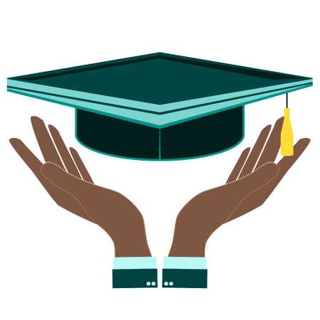alumnus: Graduation cap in hand Illustration