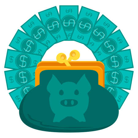 expenditure: wallet or purse with dollar banknotes and simbol of pig Illustration
