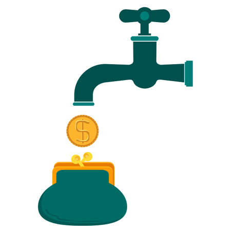 residual income: Money coins fall out of golden faucet in wallet or purse