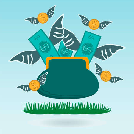 expenditure: Cash expenditure. Wallet with money fly away. Business grass concept