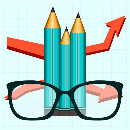 eye glasses: Pencil and eye glasses, growth chart